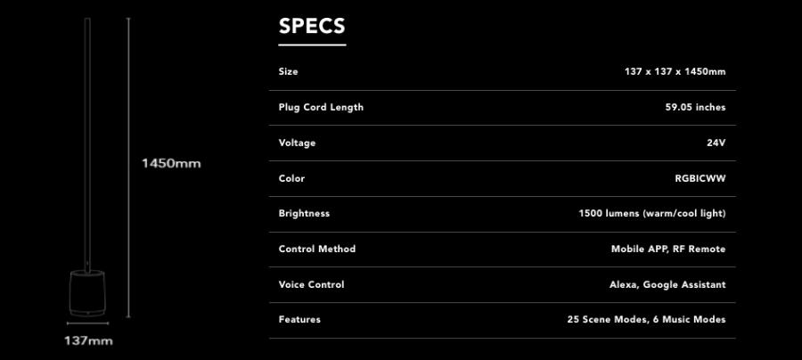 govee lyra floor lamp specs